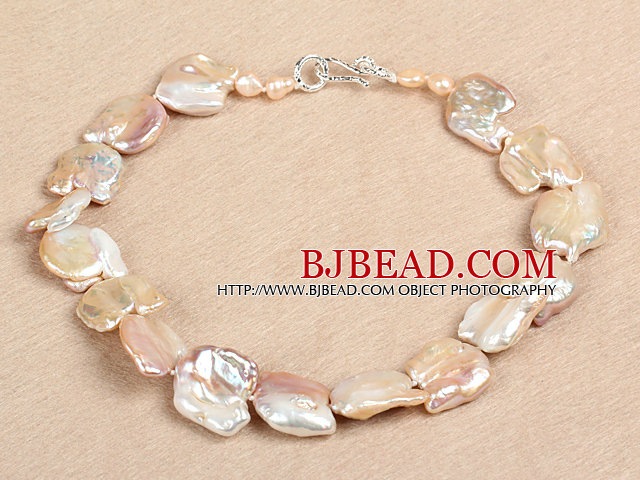 Elegant A Grade Natural Pink Irregular Shape Rebirth Pearl Chunky Party Necklace