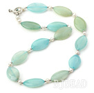 17.5 inches white pearl and blue jade necklace with toggle clasp
