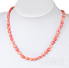 18 inches 8-10mm coral necklace with toggle clasp