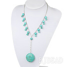 turquoise Y shaped necklace with metal chain and lobster clasp