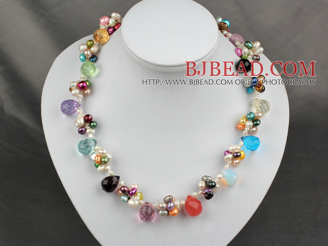 fashion dyed colorful pearl necklace