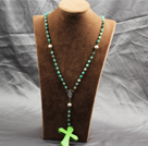 Classic Design Fashion Long Y Shape Green Frosted Banded Agate Necklace With Bright Green Cross Shape Turquoise Pendant