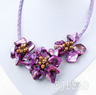 Elegant style smaller purple pearl shell flower necklace
