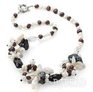 18 inches black and white pearl crystal necklace with moonlight clasp