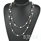 47 inches whtie and black pearl long style necklace