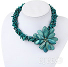 Multi Strand Green Coral and Green Shell Flower Necklace under $ 40