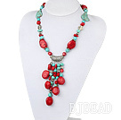 17.5 inches turquoise and coral necklace with toggle clasp under $ 40