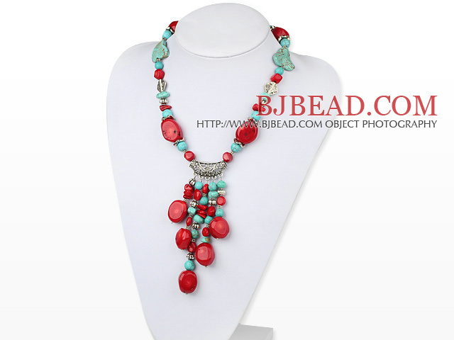 17.5 inches turquoise and coral necklace with toggle clasp