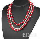 3 strand red coral and white pearl necklace under $ 40