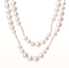 Elegant Long Fashion Style Natural White Freshwater Pearl Beads Necklace