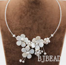 White Freshwater Pearl and Shell Flower Necklace with Glass Beads Chain
