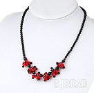 17.5 inches black agate and red coral necklace with lobster clasp