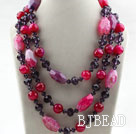 Pink Purple Series Three Strands Faceted Pink Agate and Purple Crystal Big Style Necklace