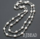 fashion long style pearl and crystal necklace