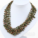 multi strand green piebald stone neckalce with shell flower clasp
