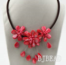 Watermelon Red Pearl Shell Flower Necklace with Black Cord under $ 40