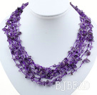 multi strand amethyst necklace with shell flower clasp under $ 40