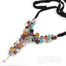 Assorted Multi Color Crystal Necklace with Black Cord