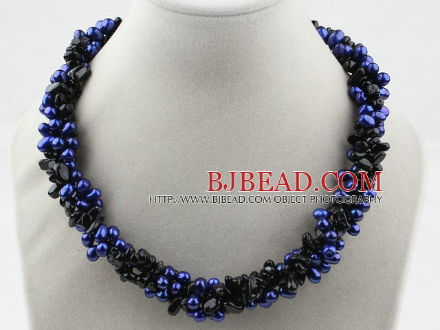 Multi Strands Dyed Dark Blue Freshwater Pearl and Black Agate Necklace