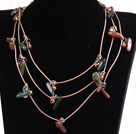 Fashion Long Style Natural Brown Pearl Gemstone Chips Necklace (Sweater Chain)