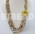 multi color stone and lemon jade necklace with flower