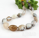 19.5 inches gray agate necklace with moonlight clasp