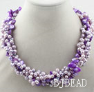 Multi Strands Purple Freshwater Pearl and Purple Shell Necklace