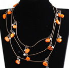 Fashion Long Style Orange Series Natural Pearl Stone Chips Necklace (Sweater Chain)
