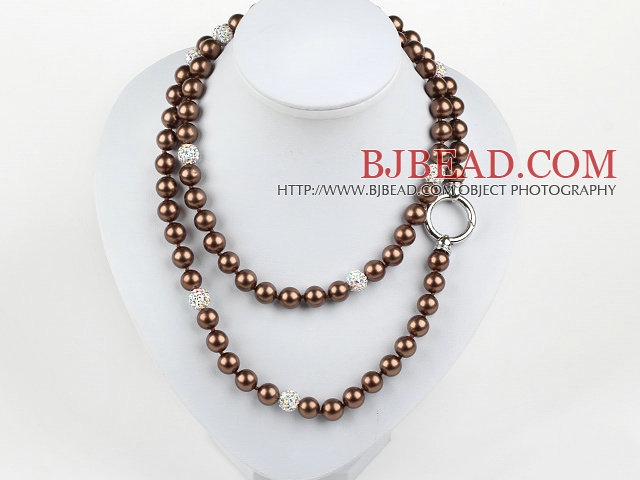 Long Style Round Brown Color Seashell Beaded Necklace with Rhinestone Beads
