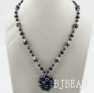 Black Freshwater Pearl Necklace with Big Pearl Ball Pendant
