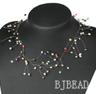 fancy multi color pearl necklace with lobster clasp