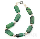 white pearl and green agate necklace with moonlight clasp