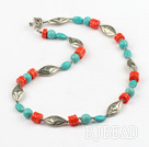 23.5 inches coral and turquoise necklace with toggle clasp
