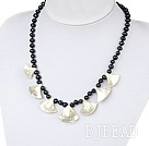 black pearl and white lip shell necklace with lobster clasp