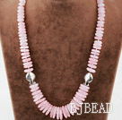 Single Strand Rose Quartz Disc Chips Graduated Necklace with Lobster Clasp under $ 40
