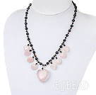 black pearl and rose quartze necklace with lobster clasp