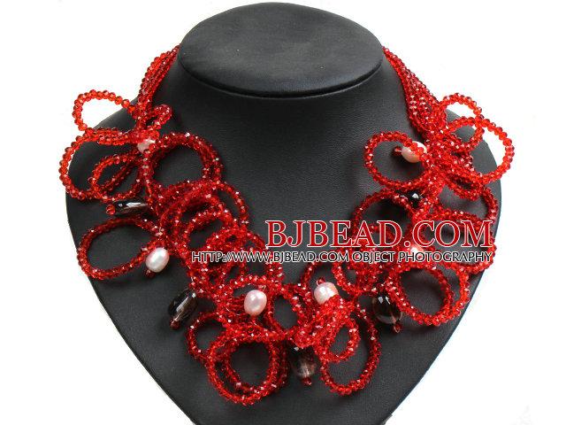 e18de8ac2e2d Diseño Speical Declaración blanca hermosa perla natural Cuarzo ahumado  Cristal Rojo collar fornido
