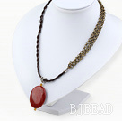 Simple Style Red Jasper Pendant Necklace under $2.5