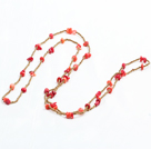 Fashion Long Style Red Coral Chips Gold Color Beads Necklace