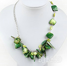 dyed green shell necklace with extendable chain