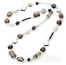 pearl smoky quartze and black lip shell necklace under $ 40