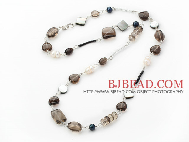 pearl smoky quartze and black lip shell necklace