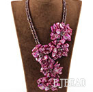 Big Style Hot Pink Shell Flower and Crystal Party Necklace