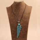 Simple Vintage Style Turquoise Tassel Pendant Necklace With Black Leather