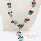 Y Style Turquoise and Red Coral Necklace with Lobster Clasp
