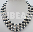 3 strand 8-10 white pearl and crystal necklace with lip shell clasp under $30
