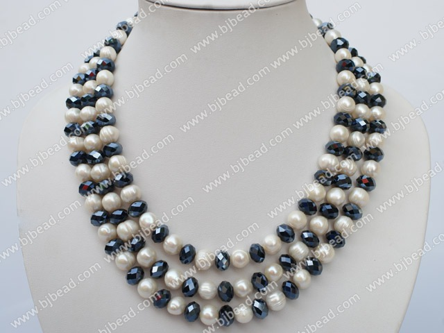 3 strand 8-10 white pearl and crystal necklace with lip shell clasp