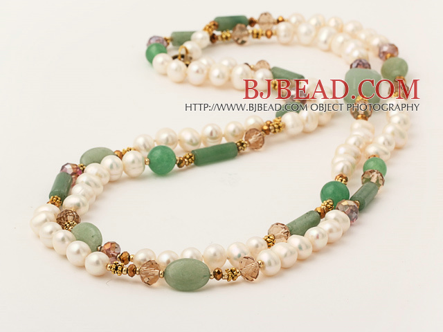 Long Style White Freshwater Pearl and Green Jade Stone Necklace