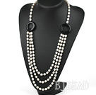 fashion pearl and black agate necklace with moonlight clasp