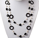 Long Style White Pearl and Black Agate Necklace